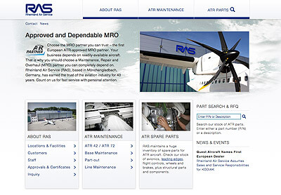 Rheinland Air Service GmbH, atr-parts.com, responsives Webdesign