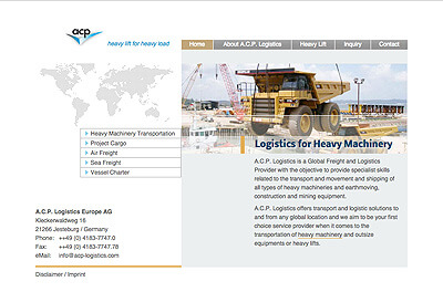 ACP-Website, heavy lift: Screendesign, Programmierung